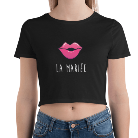 crop top tee shirt evjf noir