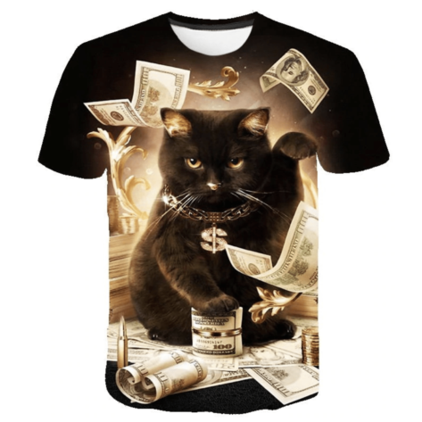 t-shirt full print 3D chat argent dollars