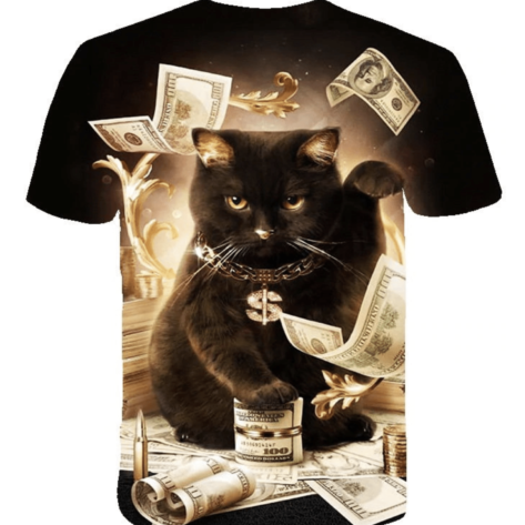 t-shirt full print 3D chat argent dos