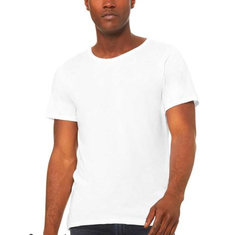 Tee-shirt-homme-col-large-coupe-tendance-personnalisable-blanc