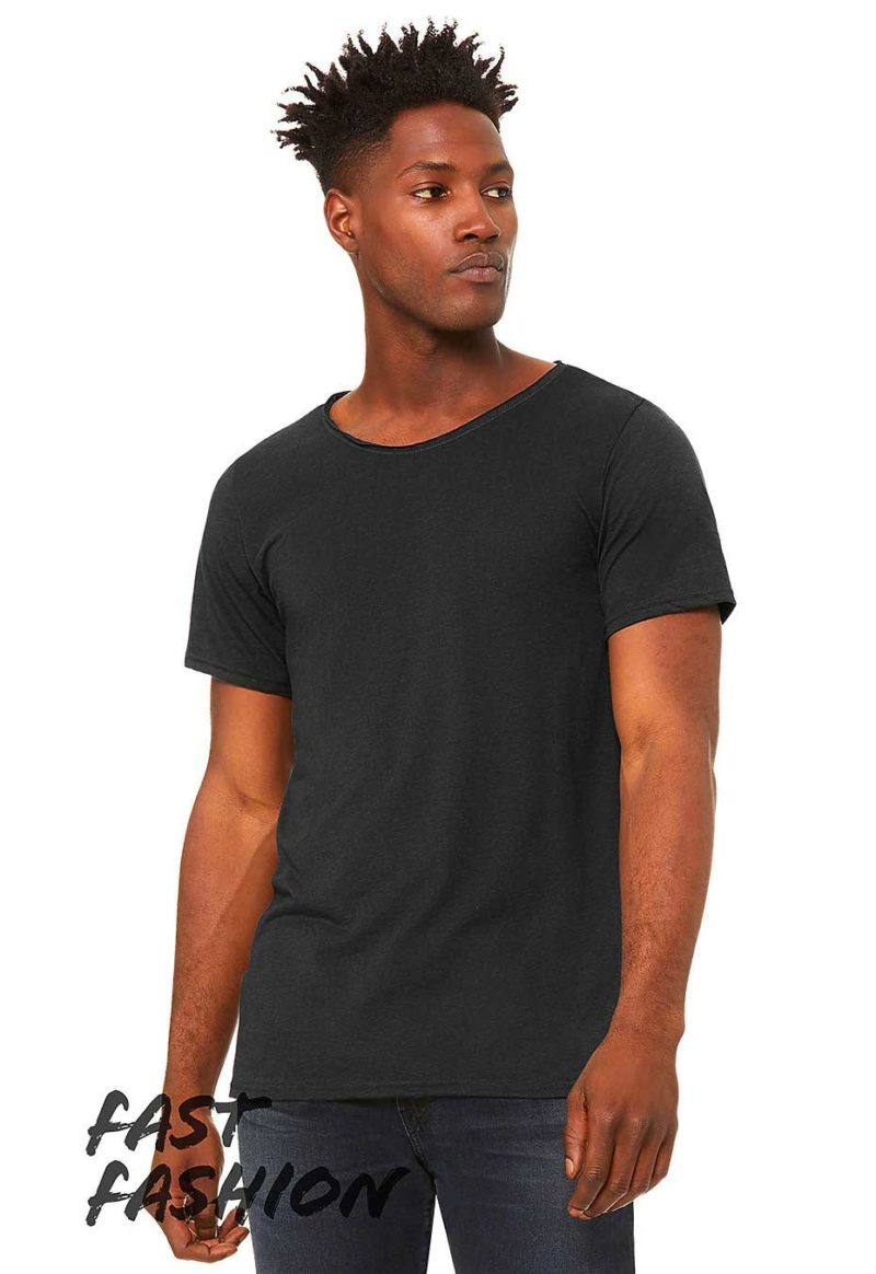 Tee-shirt-homme-col-large-coupe-tendance-personnalisable-bleu