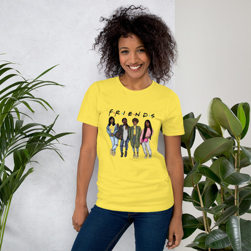 t-shirt-friends-black-parodie_mockup_Front_Womens-Lifestyle-2_Yellow