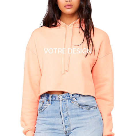 sweat à capuche court personnalisé crop top