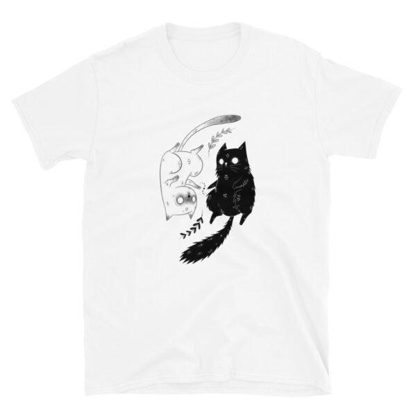 T-shirt Yin Yang Chat Noir Blanc  Unisexe