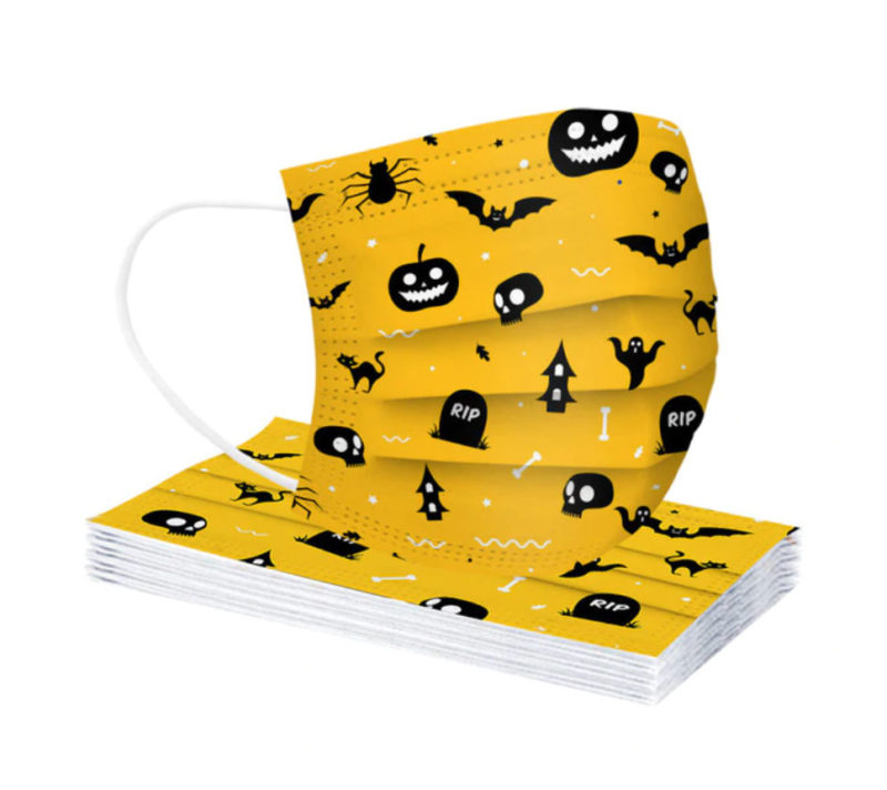 lot-de-masques-jetables-halloween-jaune-enfant