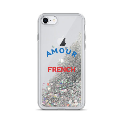 Coque iPhone Amour is French à Paillettes Liquides Créer Son T Shirt