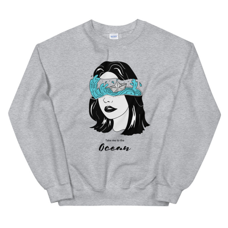 Sweat Take Me Ocean Unisexe à Col Rond Créer Son T Shirt