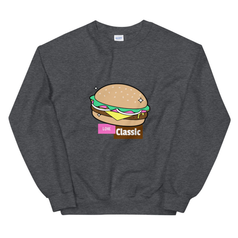 Sweat Burger Love classic Unisexe à Col Rond Créer Son T Shirt