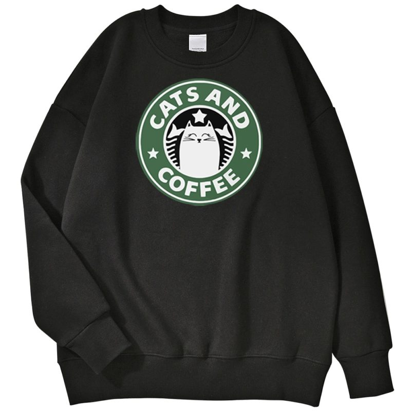 Sweat Starbuck Coffee Parodie Chat - Cats and Coffee - Chat Café Créer Son T Shirt