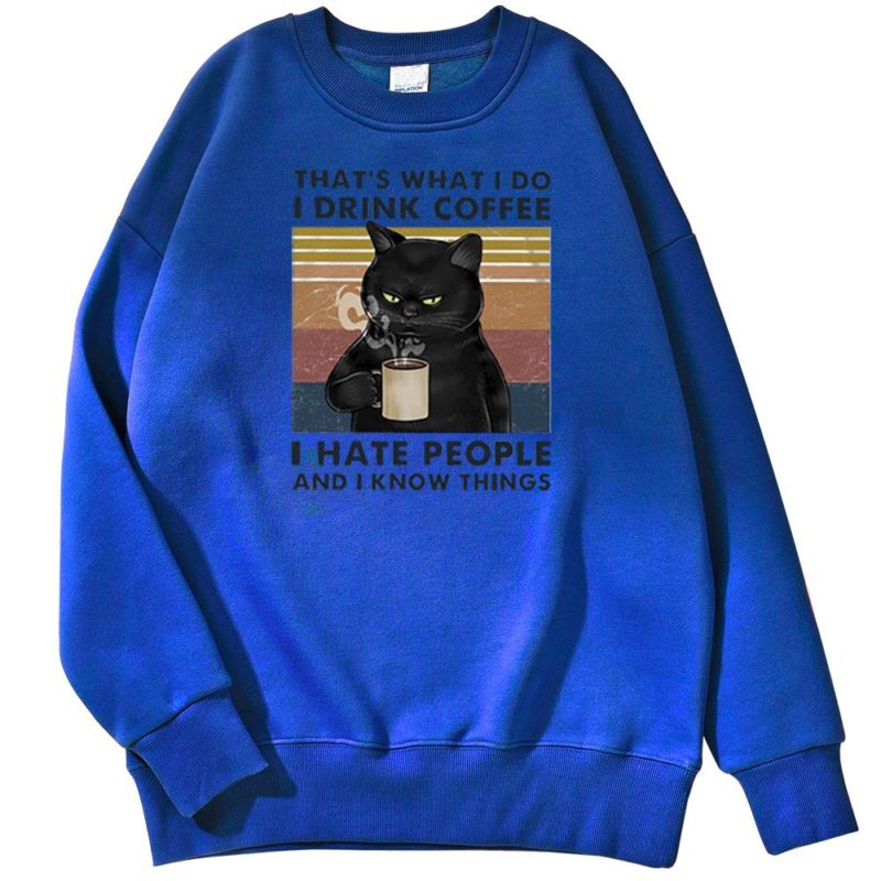 Sweat Chat Noir Drink Coffee Hate People - Homme Créer Son T Shirt