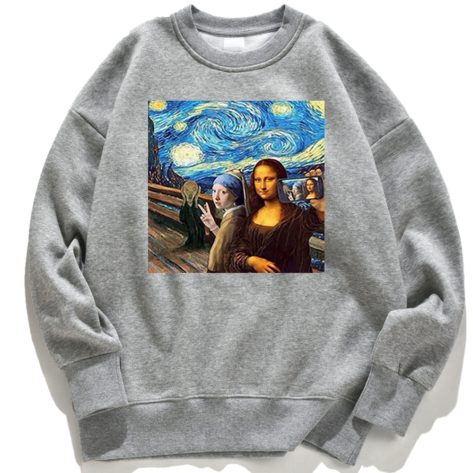 Picture-Of-Me-And-Mona-Lisa-sweat-shirt-capuche-ras-du-cou-unisexe-pour-femmes-Anime