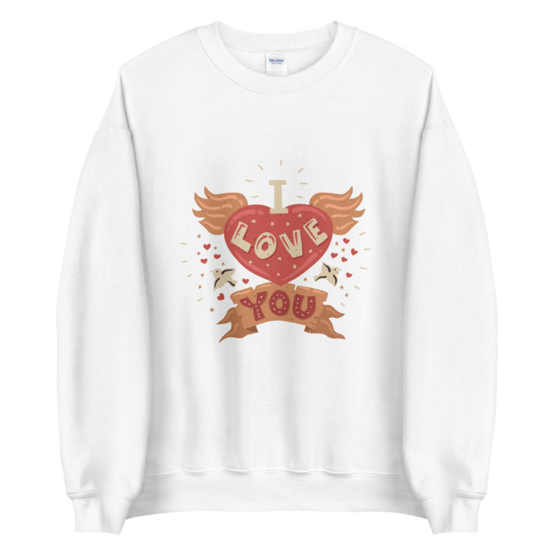 Sweat I love you Coeur Ailes Typographie Créer Son T Shirt