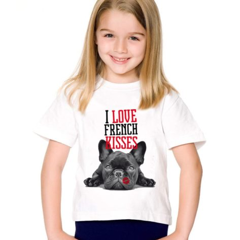Mode-Impression-J-adore-Bouledogue-Fran-ais-Baisers-Enfants-T-shirts-Enfants-D-t-Dr-le