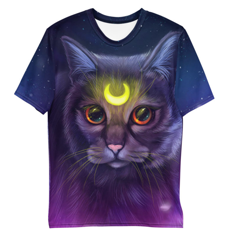 T-shirt All Over Full Print Chat Lune Etoiles Créer Son T Shirt