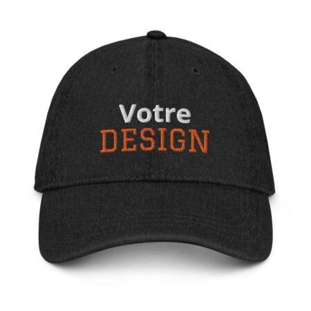 casquette personnalisée brodée en jean noir