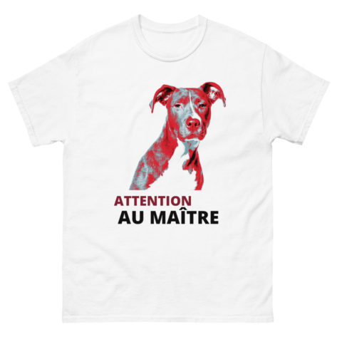 t-shirt pitbull attention au maître