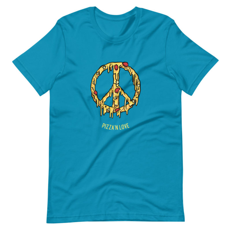 t-shirt pizza and love peace and love
