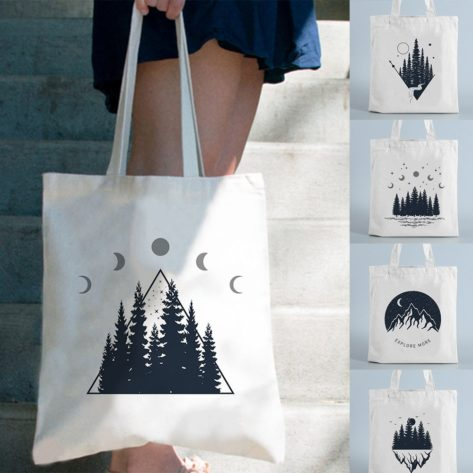 For-t-sombre-impression-toile-Shopping-sac-fourre-tout-conception-de-montagne-r-utilisable-Shopper-paule