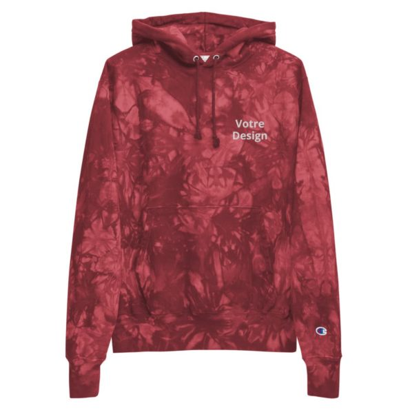 sweat champion tie dye personnalise brode unisexe rouge