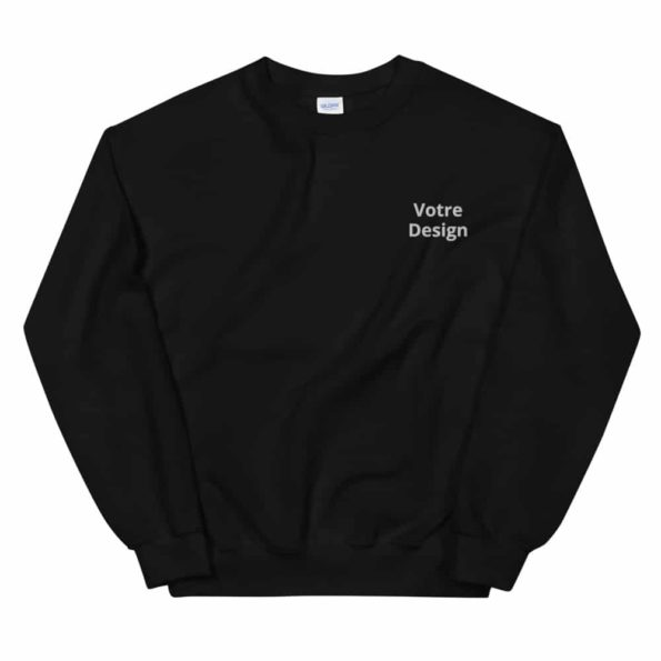 sweat noir personnalise brode unisexe a col rond