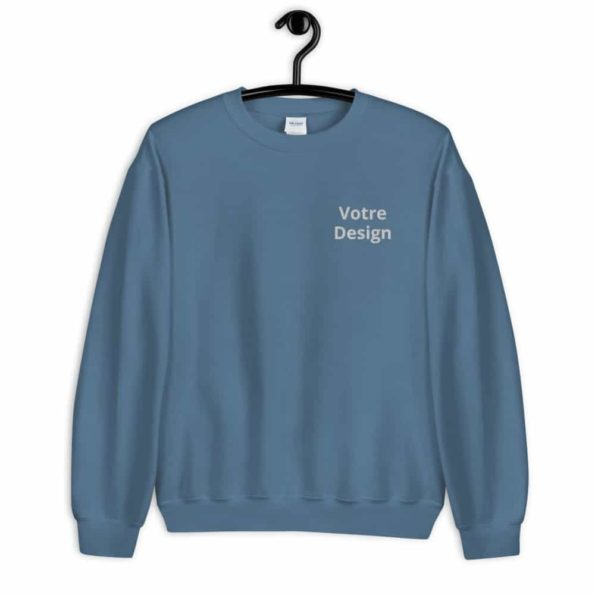 sweat personnalise brode unisexe a col rond bleu