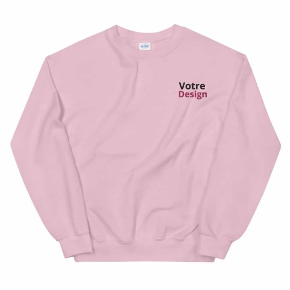 sweat personnalise brode unisexe a col rond rose