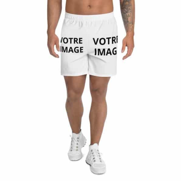all over print mens athletic long shorts white front 60f94c972ccec