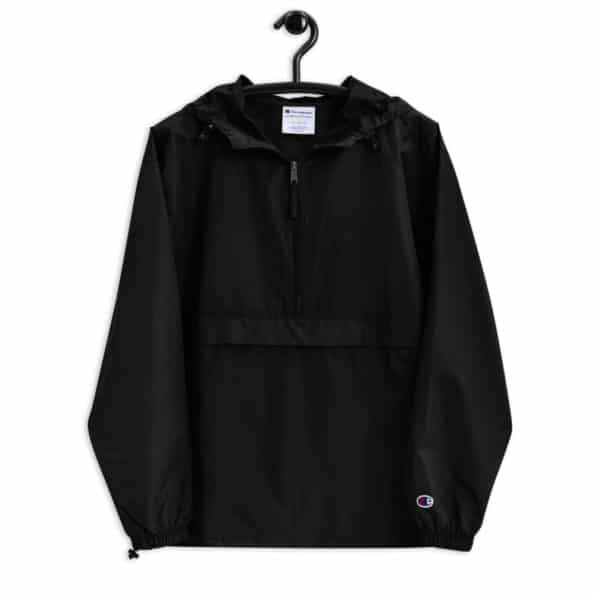 embroidered champion packable jacket black front 60f6da607c1eb