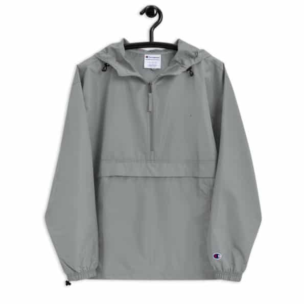 embroidered champion packable jacket graphite front 60f829bf4b249