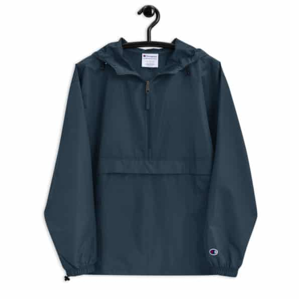 embroidered champion packable jacket navy front 60f6daa7b38e0