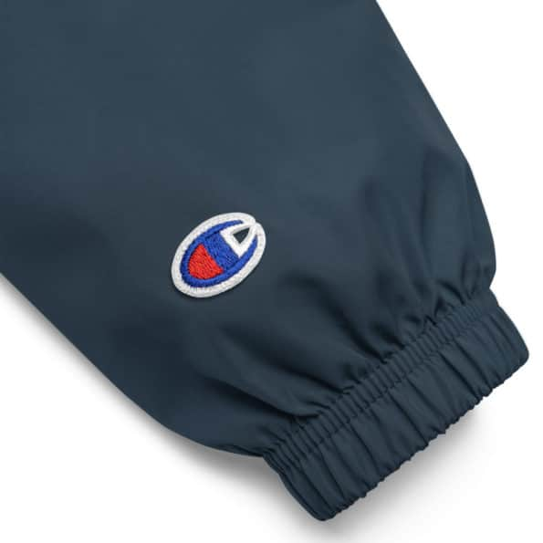 embroidered champion packable jacket navy product details 60f6daa7b3a60