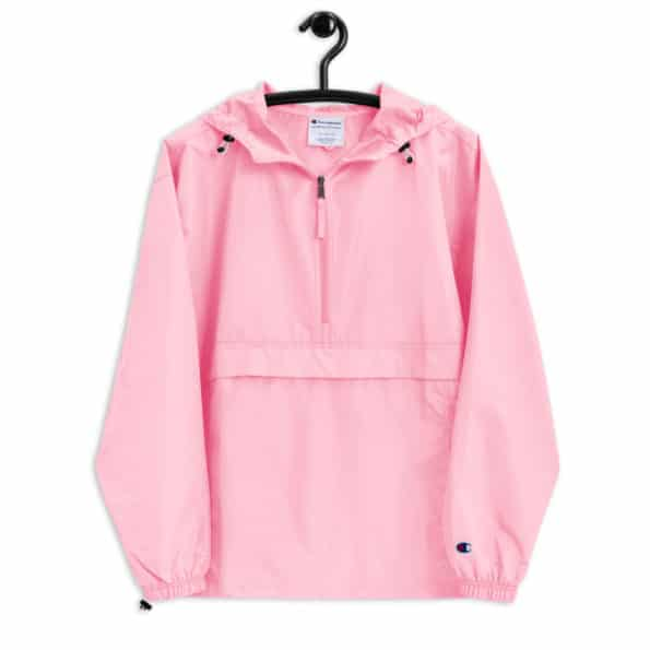 embroidered champion packable jacket pink candy front 60f6dae8237cb