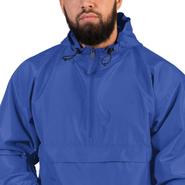 embroidered champion packable jacket royal blue zoomed in 60f82a0c90906