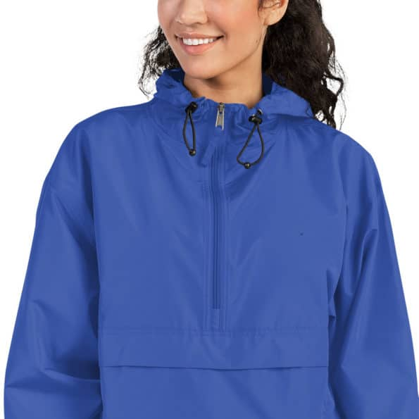 embroidered champion packable jacket royal blue zoomed in 60f82a0c9095b