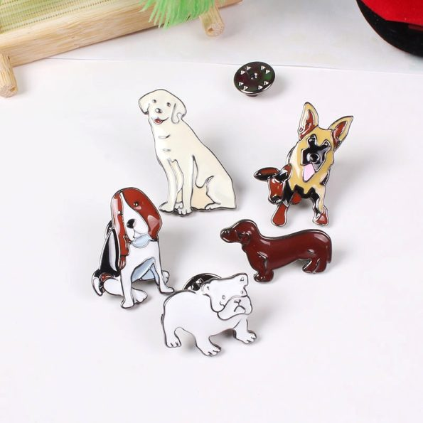 Broche Animal 10 styles chien mignon en m tal mail broches Badges chemise pull Denim revers 1