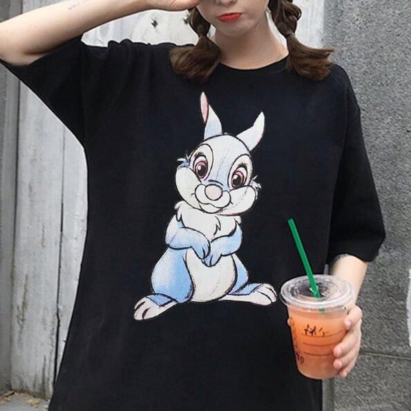 T shirt col rond pour femme v tement d contract Disney Kawaii Style cor en Harajuku 1