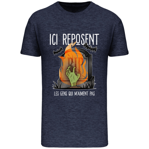 T-shirt RIP Humour Bio Homme – French Navy Heather – Face